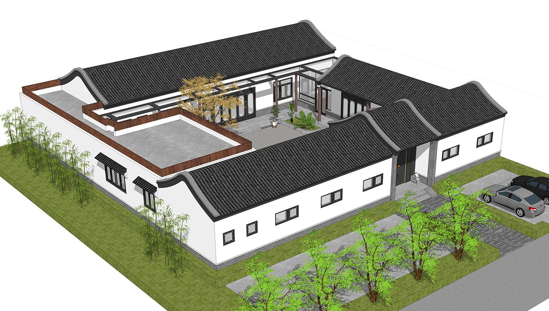 露台顶农村+平顶外廊,河南玻璃新式四合院布局超合理别墅3d图图片